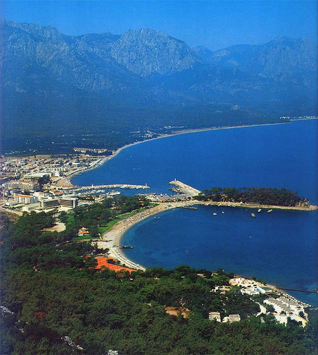 #Kemer, Turkey view towards Moonlight Beach, the city center and the coastline direction #Antalya