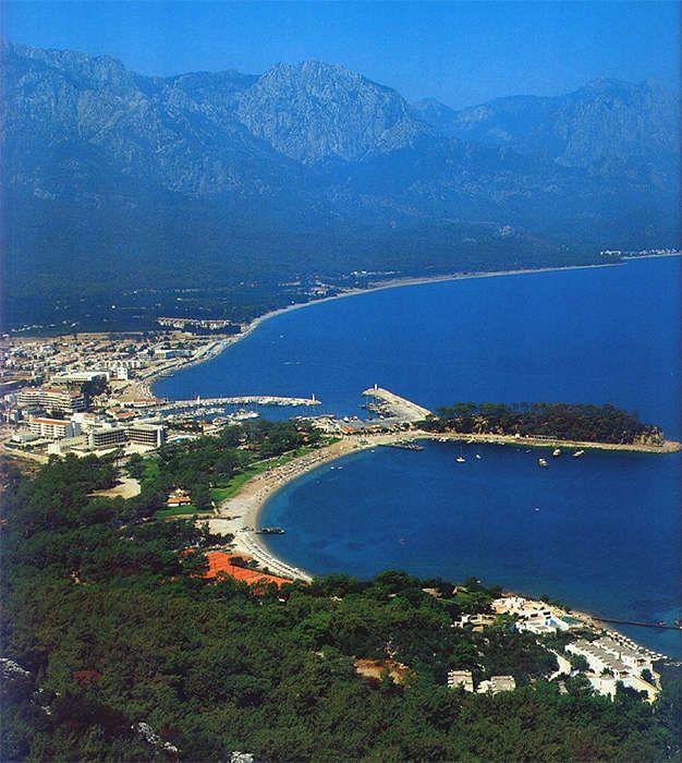 #Kemer, Turkey view towards Moonlight Beach, the city center and the coastline direction #Antalya