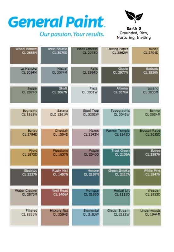 General Paint Earth 3 Colour Palette Suggestions