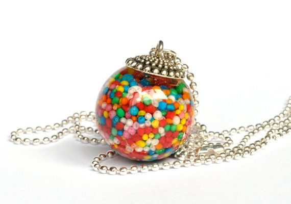Rainbow Real Candy Jewelry. Resin Pendant. Candy Necklace. Sprinkes. Freckles. 100s and 1000s.  Resin Jewelry. via Etsy