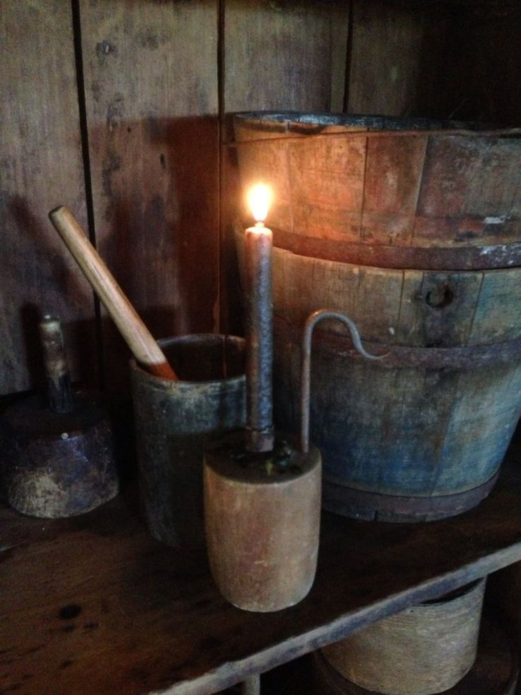 Primitive Make Do Lighting Candle 4ur Early Cabin Home