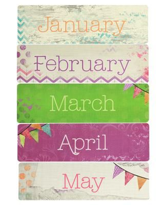 Retro Chic Monthly Headers - Inspired by the sweet shades and pleasant patterns of eras gone by, our exclusive Retro Chic collection combines the best of vintage charm with a modern, shabby chic flair. #ClassroomDecorations #Teachers