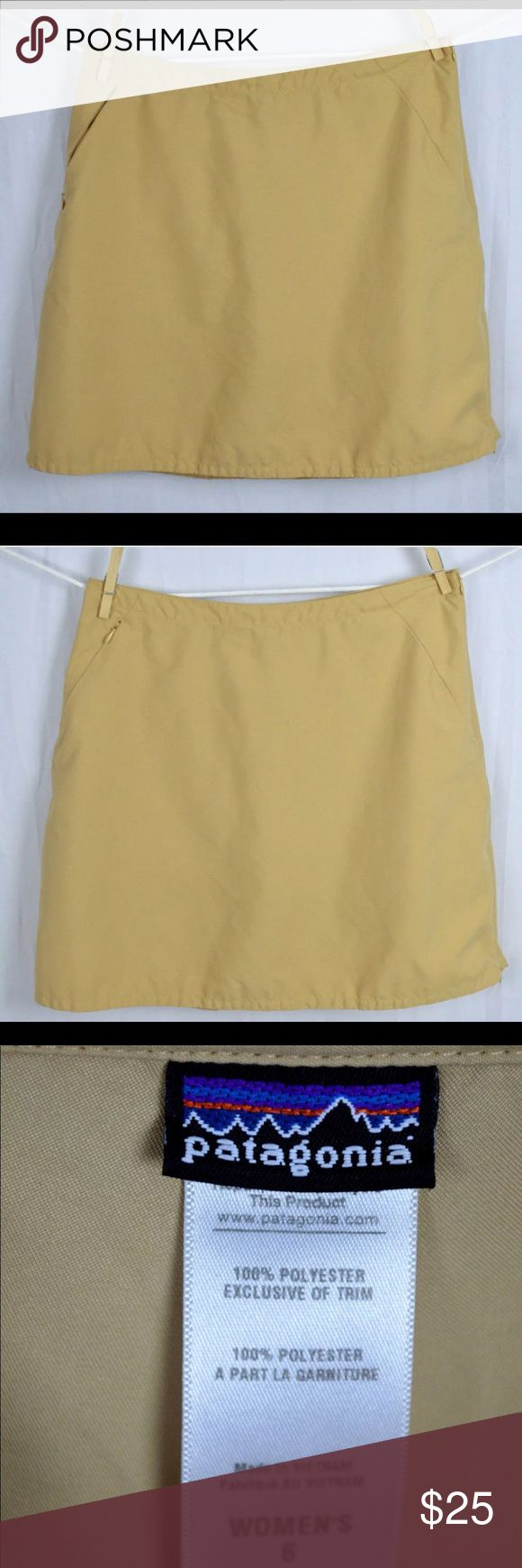 """Women's beige hiking skort from Patagonia. Size 6 An excellent used condition women's beige hiking skort from Patagonia. Size 6 with a side zip and one zip pocket.  This Patagonia skort works well on those occasions when you need a skirt but desire the modesty of shorts.  Dimensions:-  Length:- 17.25"""" Waist:- 15""""  Thanks for viewing! Patagonia Shorts Skorts"""