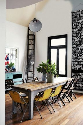 rustic dinning room: Kitchens, Dining Rooms, Decor, Ideas, Black Window, Subway Art, Interiors, Yellow Chairs, Dining Tables