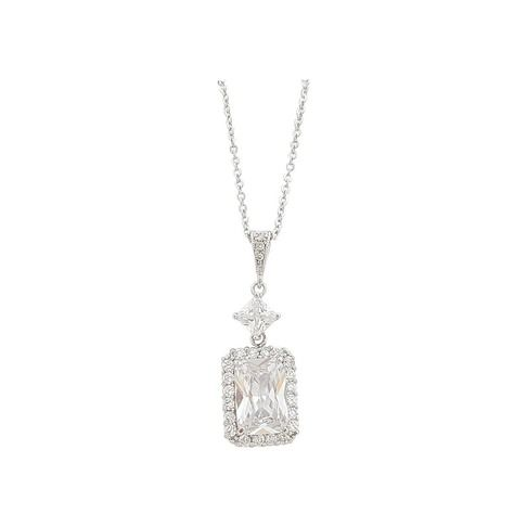 Rectangular Pendant Necklace made with Cubic Zirconia in Silver finish