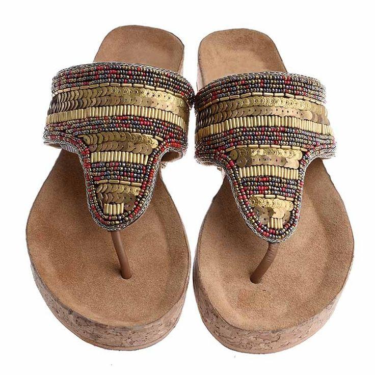 LEATHER SANDAL-RED-GOLD COLOR - Sandals