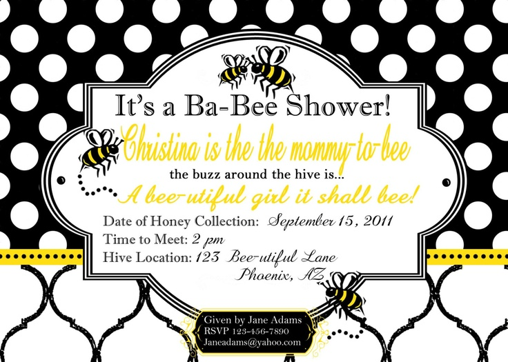 PriNTABLE Ba-Bee/Baby Shower Party Invitation-DIY printable party collections by Luv Bug Design, via Etsy.