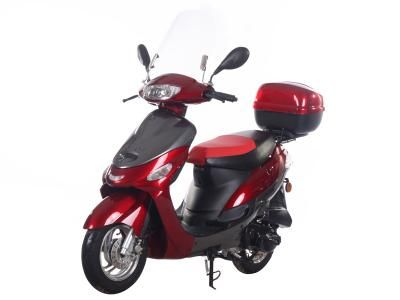 """SCO001 50cc Scooter Automatic Transmission, Front Disc/Rear Drum Brake, 10"""" Aluminum Wheels, Metallic Paint, Windshield, Rear Trunk, Performance Muffler, Most Popular Scooter $779.00"""