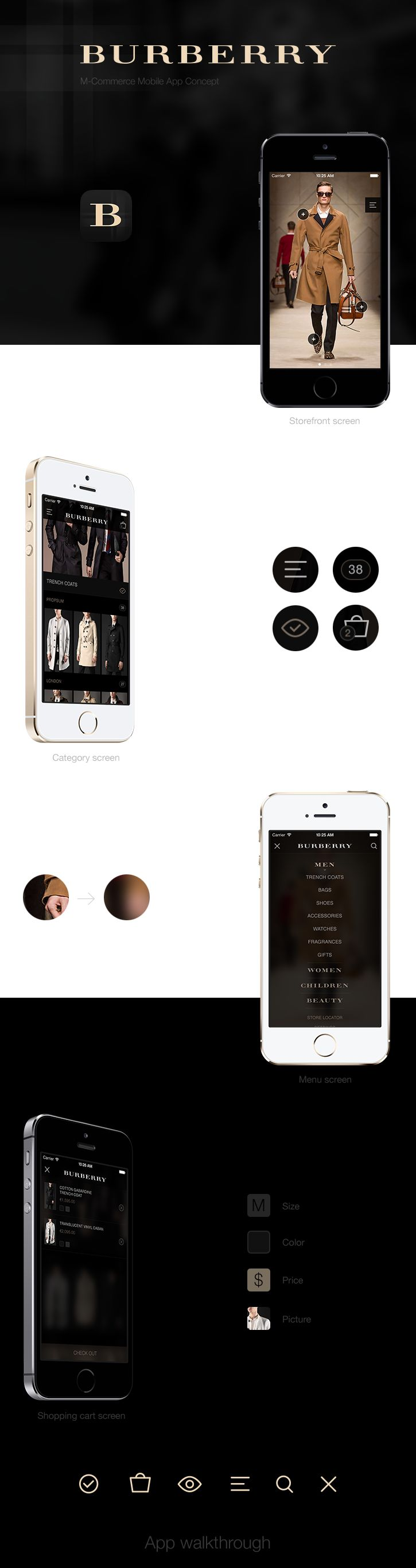 BURBERRY - App concept on Behance --- love the first screen with the tappable items -- #fashion #tech