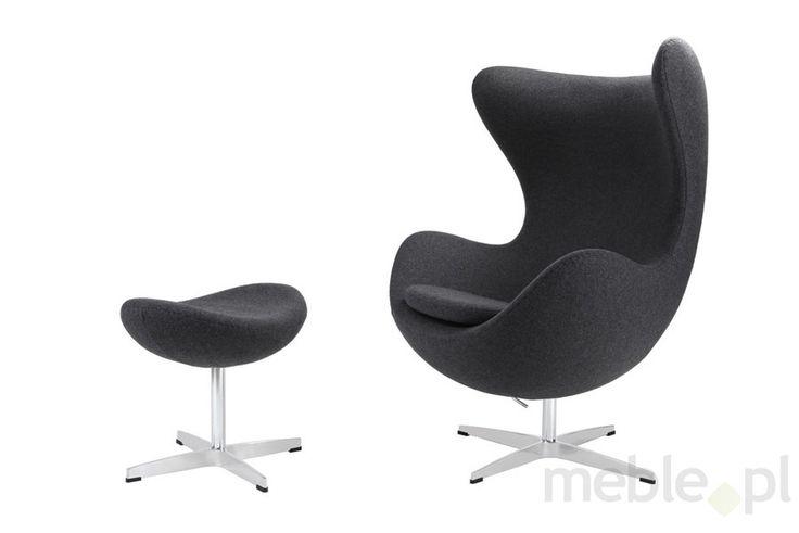 Fotel Jajo z podnóżkiem kaszmir 41 szary ciemny Premium, D2.DESIGN - Meble