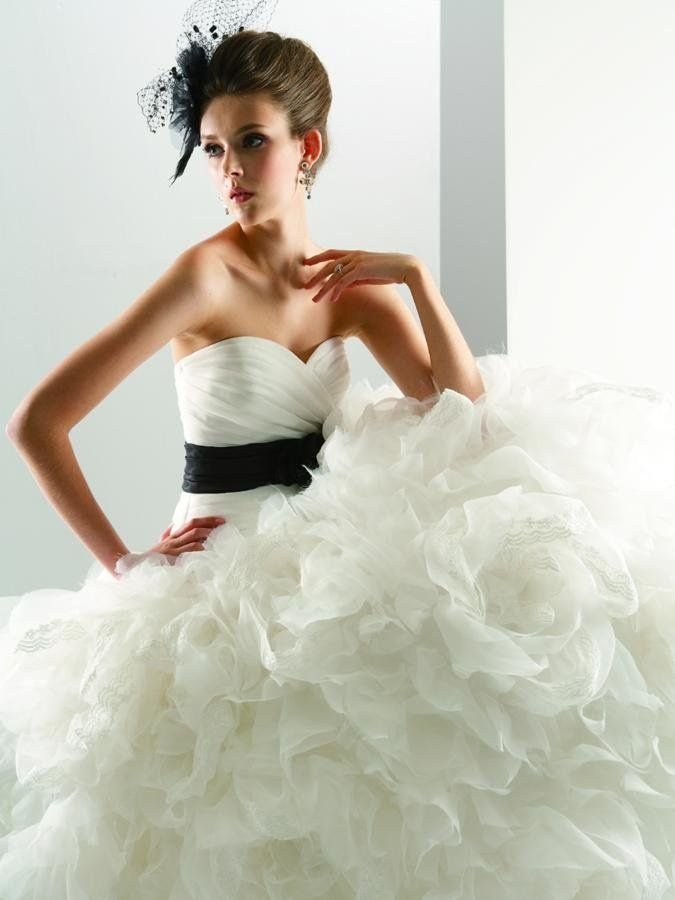 Cute Jasmine Bridal Hanover Park Illinois Black Ivory White Ball Gown Floor Flowers Jasmine Couture Organza