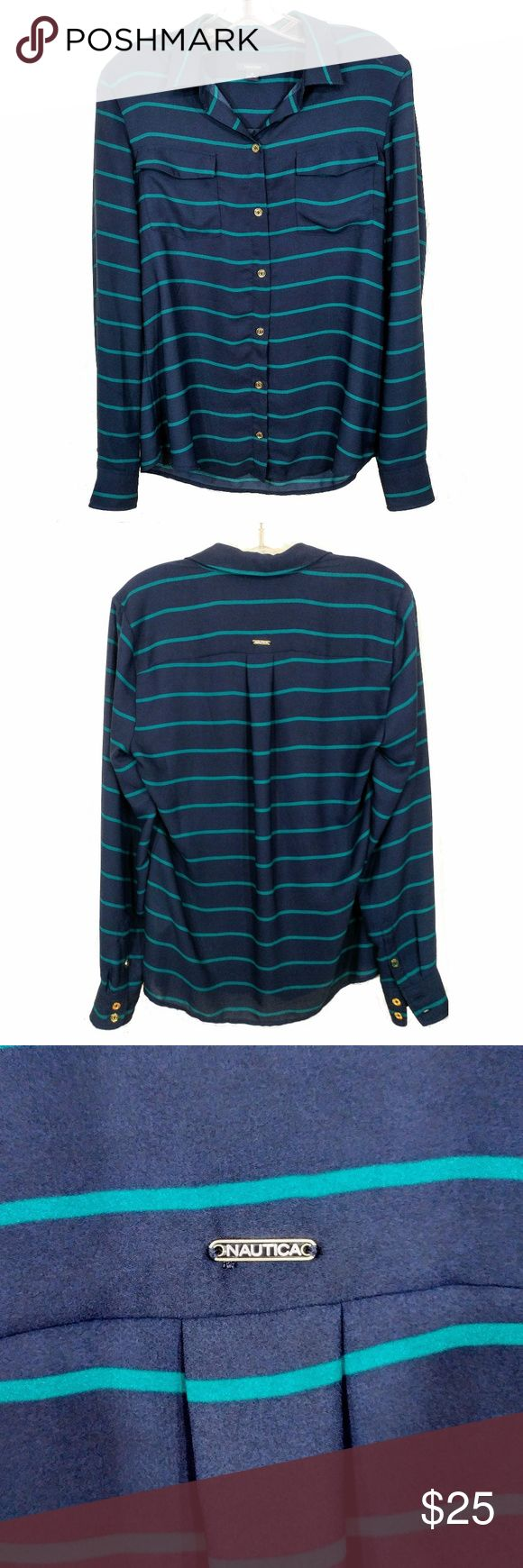 Nautica Navy Blue and Emerald Striped Blouse Flowy and comfy, this blouse would look great tucked into a pencil skirt OR with jeans and flats! This is in excellent used condition as I see no significant signs of wear Nautica Tops Blouses