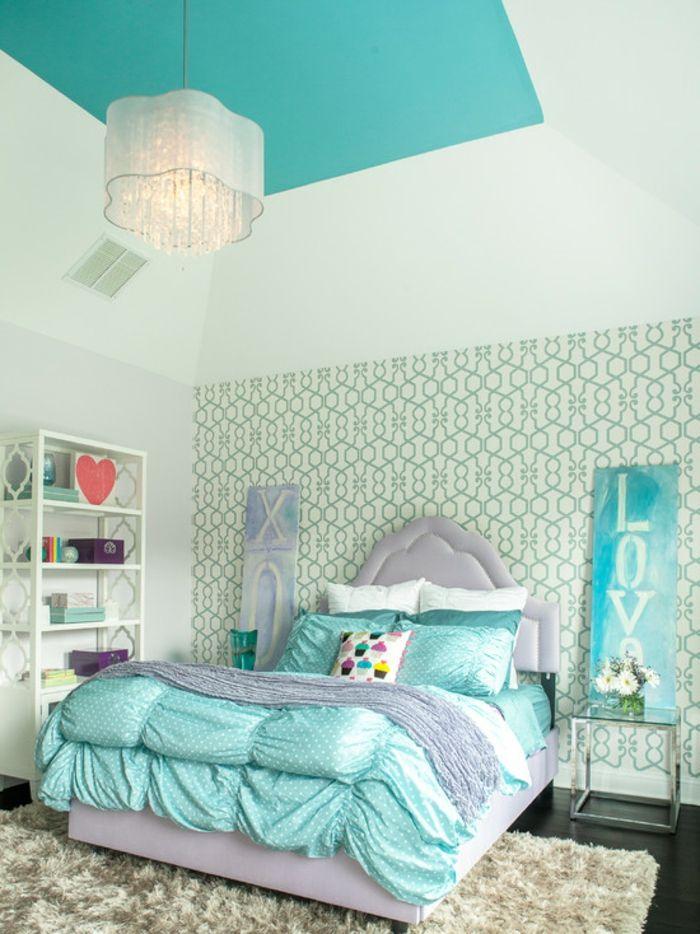 jugendzimmer m dchen sch ne wandtapete offene regale. Black Bedroom Furniture Sets. Home Design Ideas