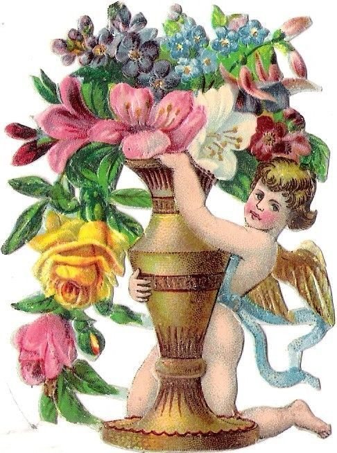 Oblaten Glanzbild scrap die cut chromo Engel angel cupid Amor Blumen flower vase