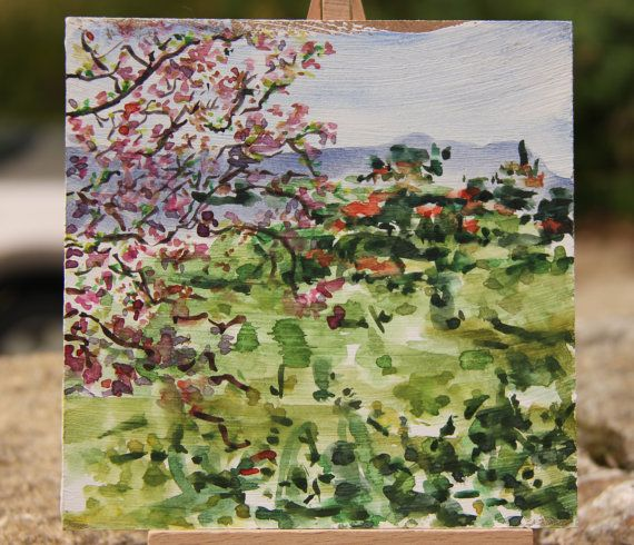 """CHRISTMAS GIFT, Original Watercolor Painting,  5.8"""" x  5.8"""", """"View"""", Watercolor on wood panel"""