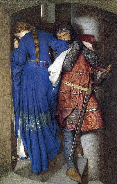 One of Ireland's best known paintings and recently voted as the nations favourite as well -Frederic William Burton's 'The Meeting on the Turret Stairs'.