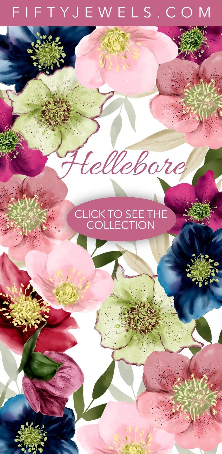 Watercolor | Clip Art | Watercolor Flowers | Hellebore Florals | This gorgeous Designer Clip Art Collection celebrates the beauty of Hellebores, one of winter's delights! Click to see the entire collection! #watercolor #clipart #hellebore #florals