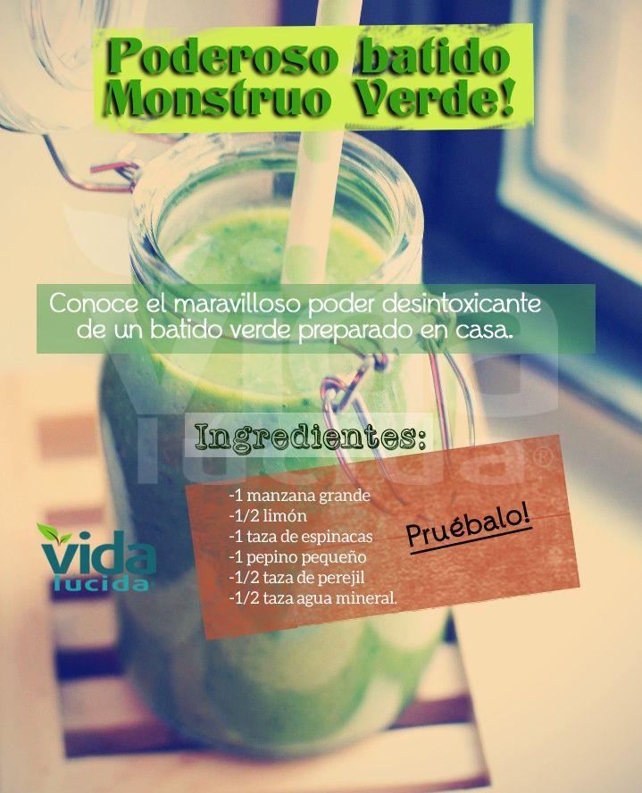 Poderoso batido Monstruo Verde! ver más recetas y consejos sobre batidos en: www.lavidalucida.com