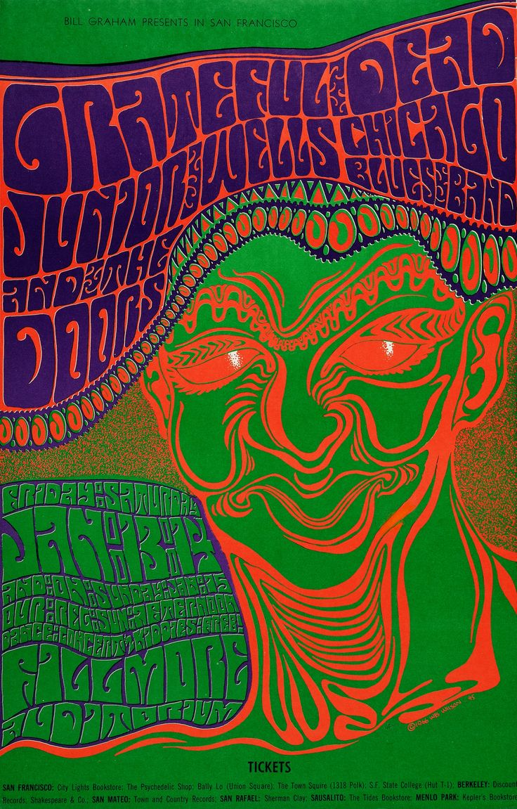 Grateful Dead/Junior Wells Chicago Blues Band/The Doors - January 13 & 14 Fillmore Auditorium (San Francisco, CA) Art by Wes Wilson.