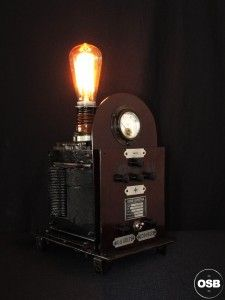 Lampe Tractor creation piece ancienne electrique industriel 2