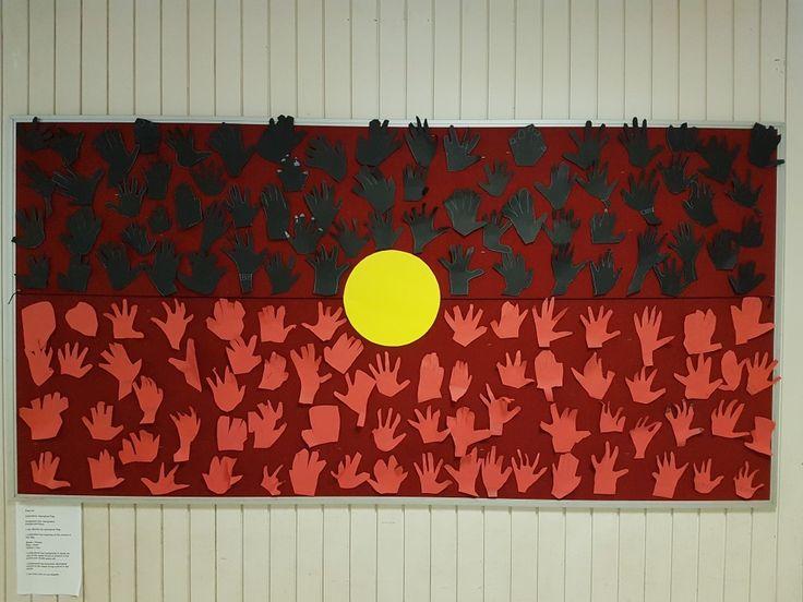 Aboriginal flag inspired hand cutouts