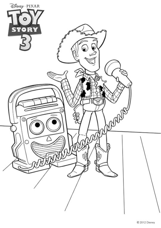 Coloriage Toy Story 3 Woody chante | Doodles | Toy story ...