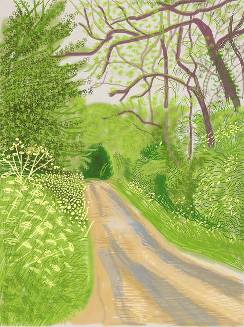 """I had always planned to make a large painting of the early spring, when the first leaves are at the bottom of the trees, and they seem to float in space in a wonderful way. But the arrival of spring can't be done in one picture.""—David Hockney"