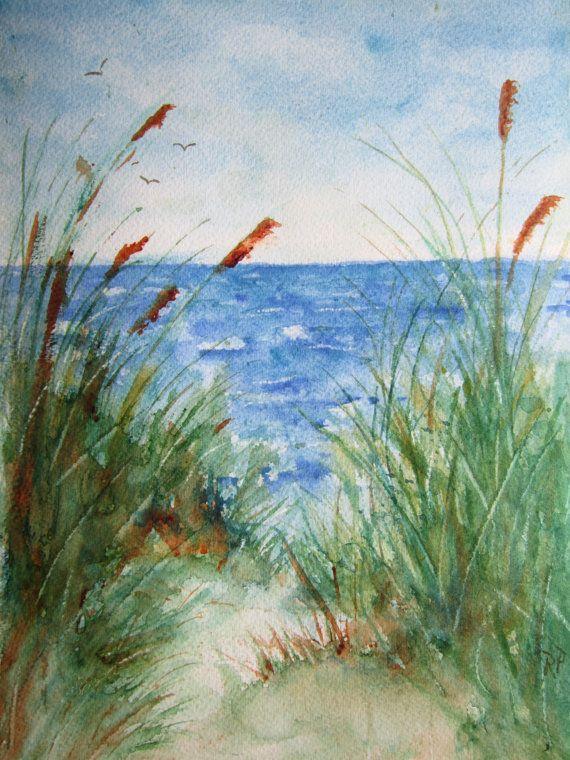 The Beach, Print Of Original Watercolor seascape painting matted,watercolor art,watercolor print,beach art,beach painting,beach watercolor on Etsy, $25.00