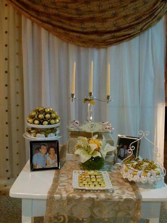 Bodas de oro individual mesa de dulces pinterest bodas for Decoracion 40 aniversario de bodas