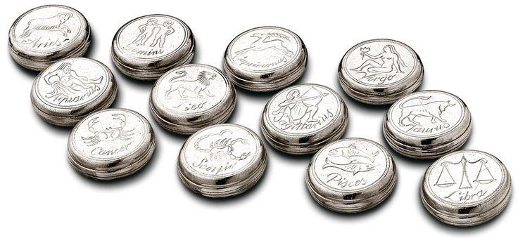 Serie 12 scatoline zodiac cm Ø 5 (Peltro) - collezione: Zao. Cosi Tabellini.