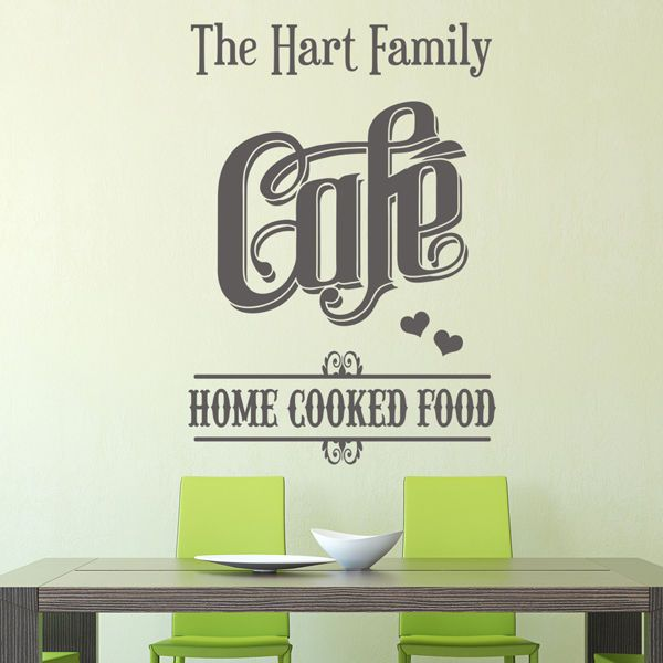 Personalised family name cafe kitchen design vinyl wall art sticker decal