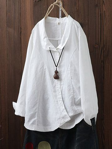 Vintage Hooded Long Sleeve Loose Plus Size Blouse with Pockets - Newchic Mobile 3