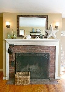 Cove View Cottage vacation rental, Wellfleet, Cape Cod. MA.  Ocean inspired mantel decor.  #vacation #beachrental #beachdecor #oceaninspired