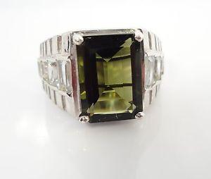 7 89ct Mens Green Moldavite Topaz Sterling Silver