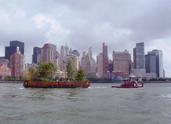 Robert Smithson, Floating Island to Travel Around Manhattan Island, 1970 Floating Island, a realization of Robert Smithson's proposal for the New York waterfront, traveled around the island of Manhattan for ten days in September. It will be visible from the shorelines of the Hudson, Harlem and East Rivers. September 17-25, 2005