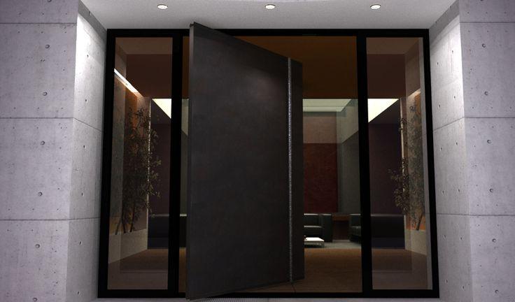 ENTRY- side lights and steel patina door.   modern glass front doors   Modern Doors   Custom Steel & Glass Doors for Luxury Homes