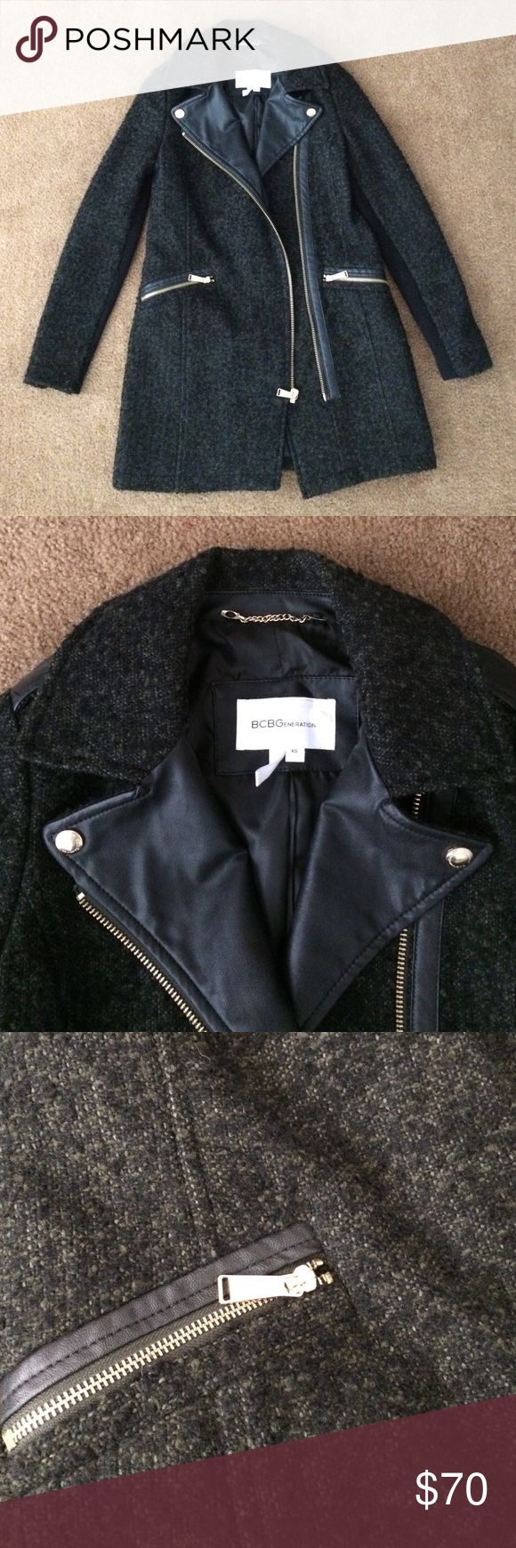 BCBGeneration coat Army green/black speckled coat. Gold hardware/zippers. Faux leather trim. Ribbed sleeves. Excellent condition. BCBGeneration Jackets & Coats Pea Coats