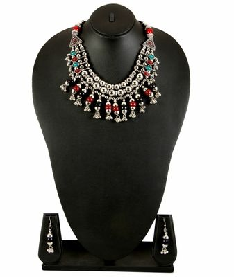 Adoreva Garba Navratri Multi Colour Necklace Earrings Set For Women And Girls Necklaces and Necklace Sets on Shimply.com