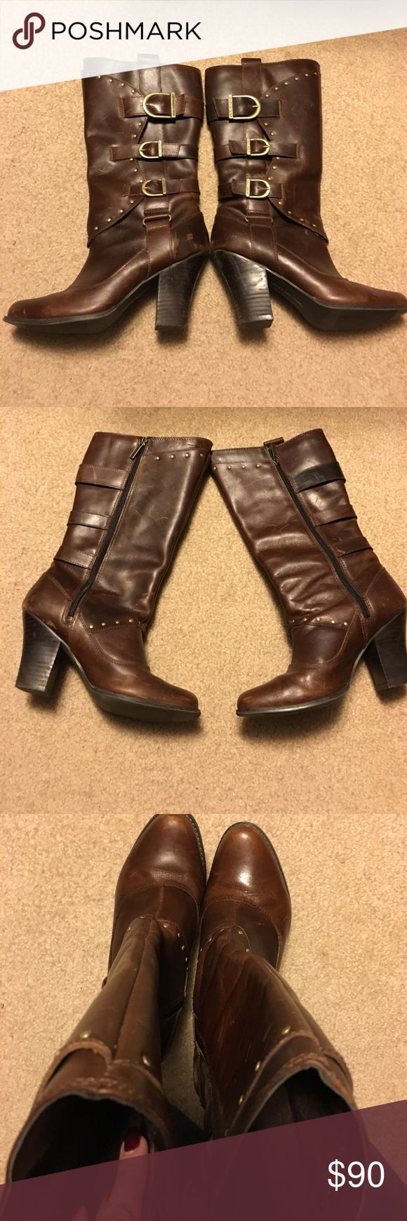 """Harley Davidson Boots. Size is 8.5. Brown leather and broken in to perfection! Size is 8.5. Brass rivets and buckles. Calf size approx. 14"""". Heel height 3.5"""". Size zips. Loved to perfection!💋 Harley-Davidson Shoes Heeled Boots"""