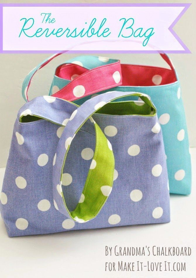 Learn to sew a simple (and adorable) reversible bag for kids!                                                                                                                                                     More