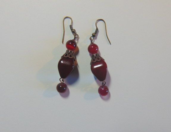 Burgundy! - my5grandsdesigns. Glass tiger eye beads and acrylic beads, antique copper cap., My