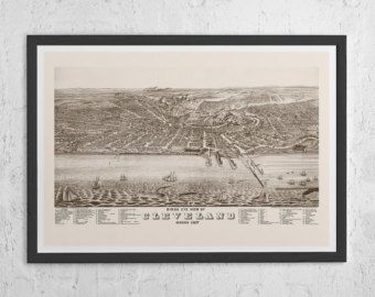 ANTIQUE CLEVELAND MAP - Vintage Map of Cleveland Ohio - Old Map Print, Vintage Wall Art, Antique Map, Perspective Map of Cleveland