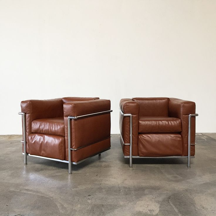 Vintage from 1973 Cassina LC 2 Lounge Chairs, Le Corbusier