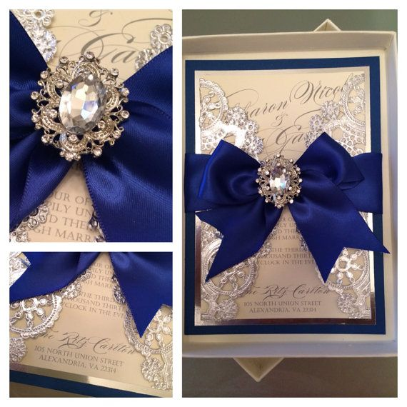 Wedding Invitations Royal blue and silver by AlexandriaLindo vintage lace grey box invitation... But gold instead.