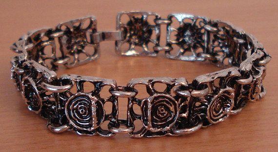 Vintage Scandinavian Modern Design Pewter Bracelet - Tapani Vanhatalo - 1970s - Made in Finland jewelry