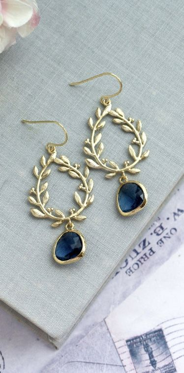 Laurel Wreath Earring Dark Blue Earring Something Blue Sapphire Blue Chandelier Earrings Navy Wedding Bridesmaid Gift Gold and Navy Wedding by MAROLSHA - https://www.etsy.com/listing/246001302/laurel-wreath-earring-dark-blue-earring?ga_search_query=blue&ref=shop_items_search_34