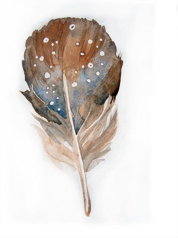 Watercolor painting of feather.Art original. Beige brown feather.