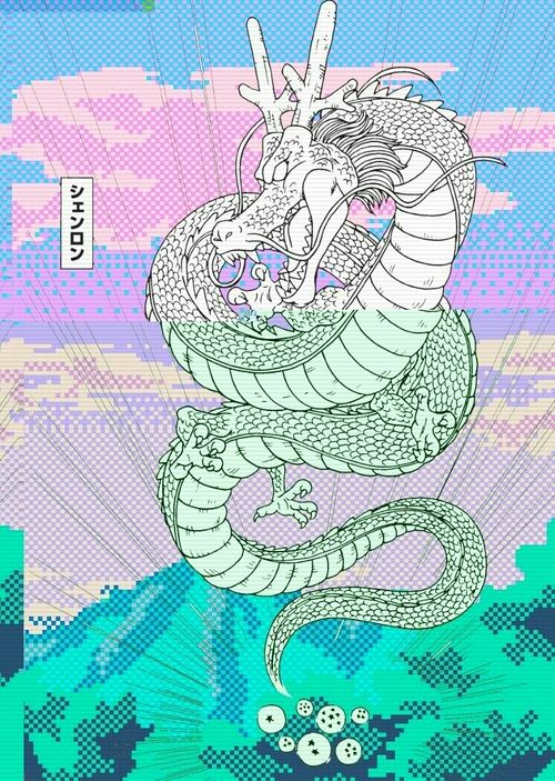 dragon aesthetic pastel blue pink japan Vaporwave