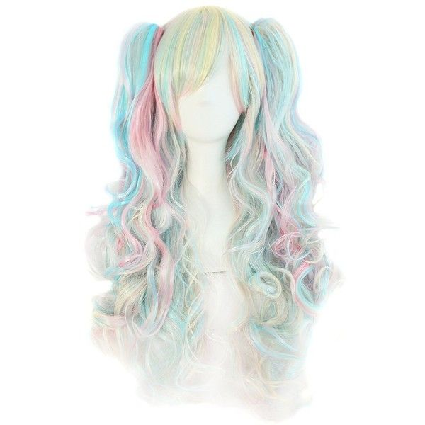 MapofBeauty Multi-color Lolita Long Curly Clip on Ponytails Cosplay... ❤ liked on Polyvore featuring beauty products, haircare, hair styling tools, hair and wigs