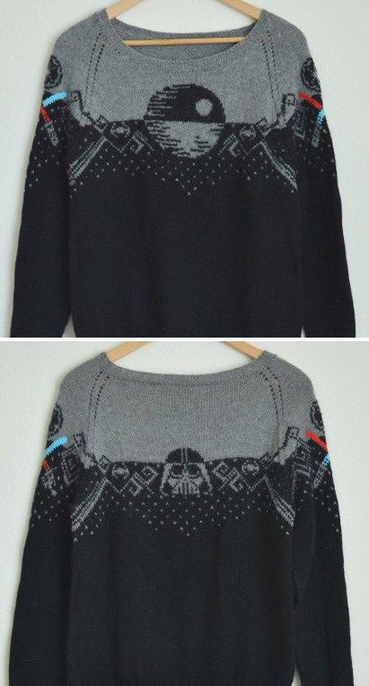 Knitting Pattern for Star Wars Sweater - This pullover sweater pattern by knatalieknits features the Death Star on the front, Darth Vader on the back, and light sabers on the sleeves